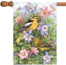 Toland Bullock's Orioles 28 x 40 Colorful Flower Spring Bird House Flag