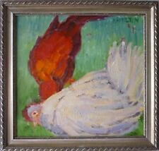 oil painting chickens original landscape animal framed P.hamilton
