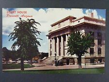 Prescott Arizona Yavapai County Court House Thumb Butte Vintage Postcard 1950s