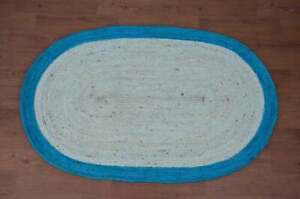 white with sky blue border beautiful jute oval rug holiday christmas gift rugs