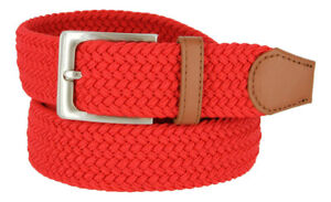 "Fabric Braided Belt Elastic Woven Stretch Belt 1-3/8"" (35mm) Wide Multicolored"