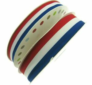 RED WHITE & BLUE FAILLE RIBBON 15mm, 25mm,  WHOLE ROLLS AVAILABLE UK/FRANCE/USA