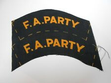 first aid party   uncut   printed  F A PARTY   cloth shoulder titles