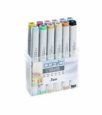 COPIC .TOO MARKER -12 PASTEL COLOURS SET TWIN TIPPED REFILLABLE WITH COPIC INKS