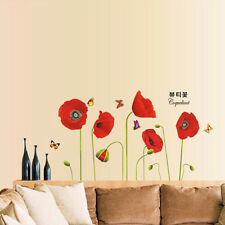 Red Flower Corn Poppy Butterfly Wall Sticker Home DIY Removable Decal Decor Gift