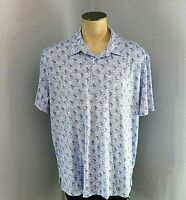 IZOD Golf Blue and White with Palm Trees Polo Shirt Mens Size XXL