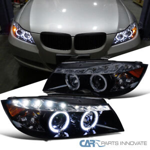 New!! Glossy Black For 06-08 E90 3-Series 4Dr Smoke LED Halo Projector Headlight
