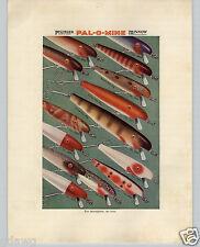 1936 PAPER AD Pflueger Pal-O-Mine Fishing Lure Minnow COLOR Cedar Wood Frame It
