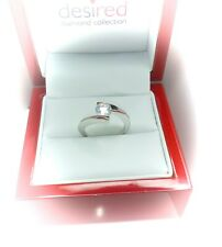 (Swirl 6mm) Sterling silver solitaire engagement ring.Hallmarked 925 size J (#4)