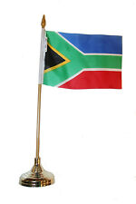 "SOUTH AFRICA COUNTRY 4"" X 6"" inch stick flag with GOLD STAND on 10"" plastic pole"