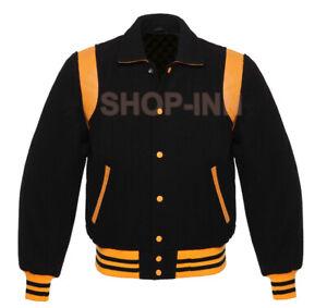 Varsity premium Letterman Bomber Baseball Jacket Black Wool Gold Leather Stripe