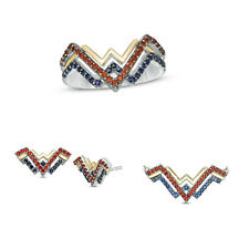 Wonder Woman Collection Earrings Pendant Ring Fine Jewelry Set Solid 925 Silver