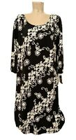 NWT $150 JM Studio Black White Floral Textured Sheath Dress Plus Size 2x 23""