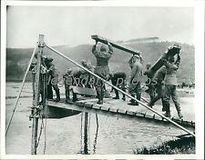1939 WWII Pontoon Bridge Training Polish Conquest Original News Service Photo