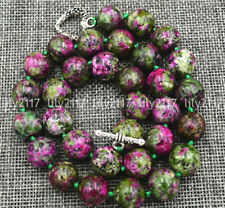 Natural 8/10mm MultiColor ruby Gemstone Necklace Tibetan silver love clasps 18''