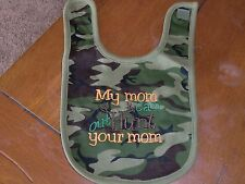 Embroidered Baby Bib - My Mom Can Out Hunt Your Mom - Camo Bib