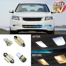 8Pcs White LED Lights Bulbs Interior Package Kit for Honda Accord 2003-2012
