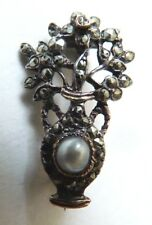 Petite broche argent massif + perle + marcassite 19e siècle silver brooch