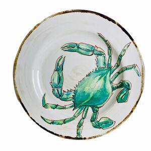 Tommy Bahama Ocean Blue Crab Melamine Dinner Plates Set of 4