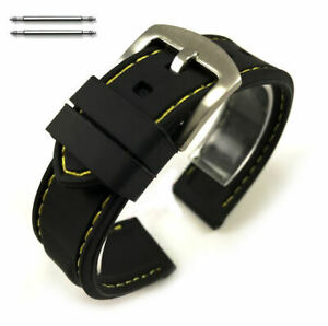 Black Rubber Silicone Replacement Watch Band Strap Yellow Stitching Buckle #4005