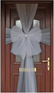 Christmas Luxury Front Door Silver Bow Wedding Xmas New Year Party Decoration
