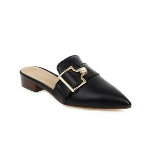 New Party Womens Mules Slip On Loafers Pointed Toe Buckle Flat Heel Casual Shoes