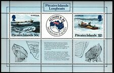 Longboats Ausipex mnh souvenir sheet 1984 Pitcairn Islands #248 Stamp Show map