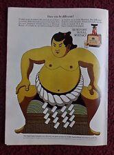 1971 Print Ad SUNTORY Royal Whiskey ~ Japan Japanese Sumo Champion Wrestler ART