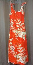 Kiyomi Liberty House Hawaiian Dress 10 Orange Leaves Maxi Vtg Tie Shoulder Strap