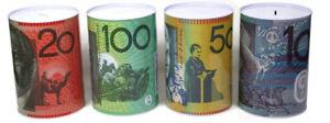 10 20 50 100 Dollar Note Money Tin Australian Box Jar Piggy Bank Coin OZ Variety