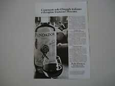 advertising Pubblicità 1977 BRANDY FUNDADOR