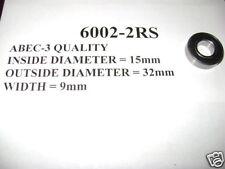 2 NEW 6002-2RS PREMIUM ABEC-3 QUALITY BEARINGS 15X32X9