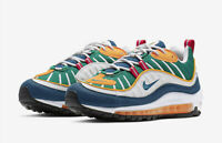 WOMENS NIKE AIR MAX 98 - UK 4/US 6.5/EUR 37.5 - GREEN/BLUE/WHITE (AH6799-601)