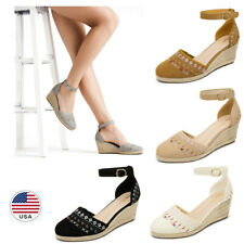Women's Espadrilles Wedge Sandals Ankle Strap Close Toe Party Dress Shoes