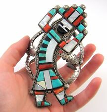 MARY LIVINGSTON Navajo Sterling Silver Turquoise Coral Rainbow Man Bracelet | J