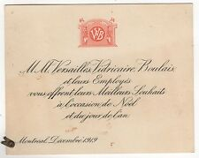 RARE 1919 Christmas Card JOSEPH VERSAILLES Montreal Quebec Canada VIDRICAIRE QC