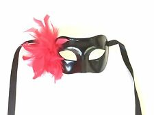 BLACK  RED FEATHER VENETIAN MASQUERADE  MARDI GRAS PARTY LINGERIE MASKS