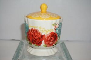 """NEW The Pioneer Woman Blossom Jubilee Sugar Bowl Spoonful of SUGAR Floral 5.25""""T"""