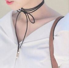GOLD White Faux Pearl Black Faux Suede Cord: Wrap Around Tie Ribbon Choker