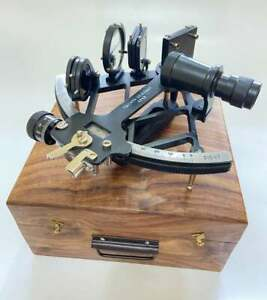 "Nautical 9"" Solid Aluminium Working Navigational Tamaya Sextant With Wooden Box"