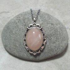 Rose Quartz Cameo Necklace Jewelry Antique Silver