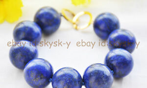 New Big 8 inch 18mm Natural  round blue lapis lazuli bead bracelet For Men