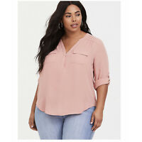 torrid Harper Dusty Pink Georgette Pullover Blouse Top Size 2 2X NWT