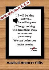 David Bowie we can be heroes song record lyric inspired poster print A4 gift