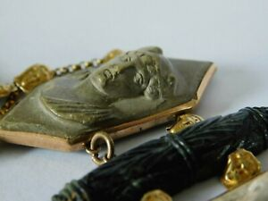 ANTIQUE 9ct GOLD BRACELET with CARVED LAVA CAMEOS & 9ct GOLD HEADS