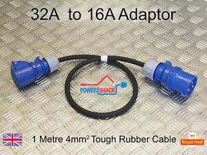 32 Amp Plug to 16 Amp Socket, 0.5, 1.5 and 3 Metre, Tough and Durable Adaptor