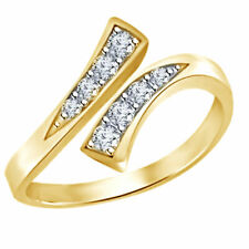 Ring 14K Gold over Sterling Silver Sim Diamond Prong-Set Adjustable Bypass Toe