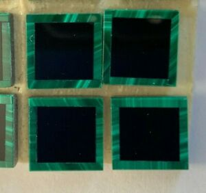 V001-  Vintage & Genuine Inlay Stone Mosaic Tiles - Malachite & Black Onyx 9x9mm