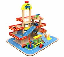 Wooden Garage Station Playset Interactive City Car 3 Story Parking Gas Station