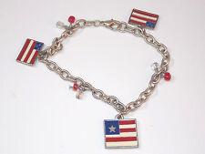 "New listing Patriotic Red White Blue Silver tone 8"" Charm Bracelet Usa Flag Stars Strips"